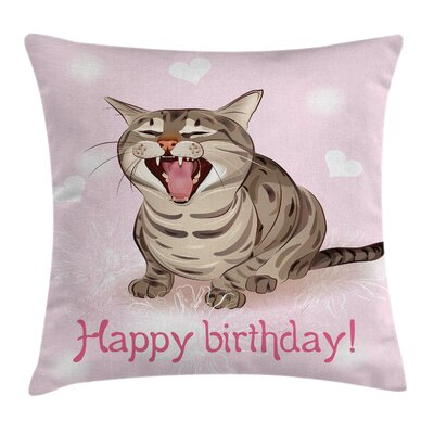 Cat Funny Kitten Greeting Song Square Pillow Cover Size: 16 x 16