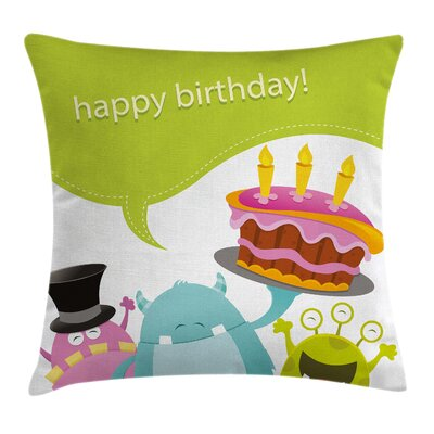 Kids Cute Monsters Birthday Square Pillow Cover Size: 24 x 24