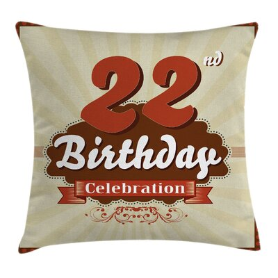 Retro Birth Greeting New Age Square Pillow Cover Size: 16 x 16