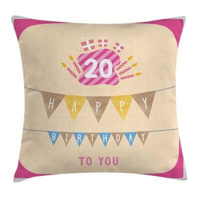 Cartoon Girly Birthday Square Pillow Cover Size: 16 x 16