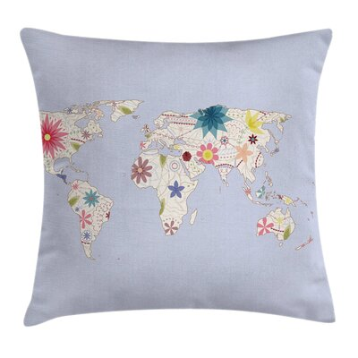 Kids World Map with Soft Blooms Pillow Cover Size: 16 x 16
