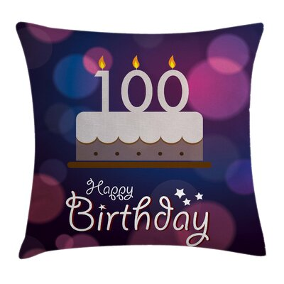 Cartoon Candle and Cakes Square Pillow Cover Size: 16 x 16