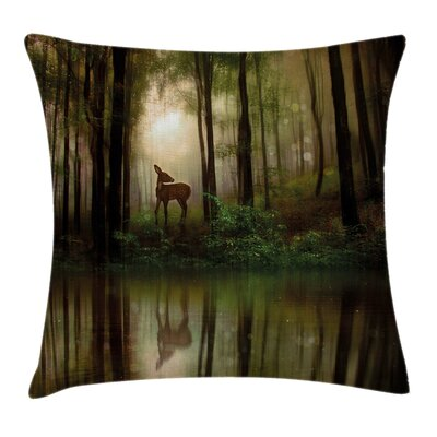 Forest Baby Deer Foggy Lake Pillow Cover Size: 18 x 18