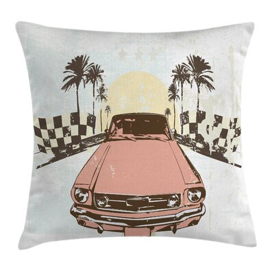 Grunge Retro Auto Sport Palms Pillow Cover Size: 24 x 24
