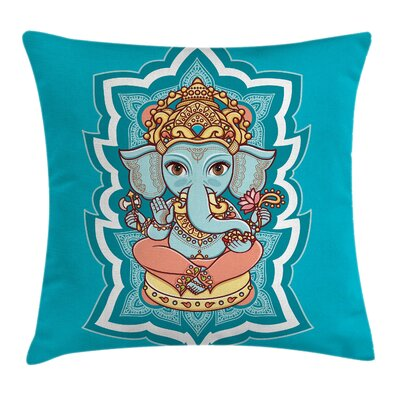 Elephant Indian Religion Figure Pillow Cover Size: 18 x 18