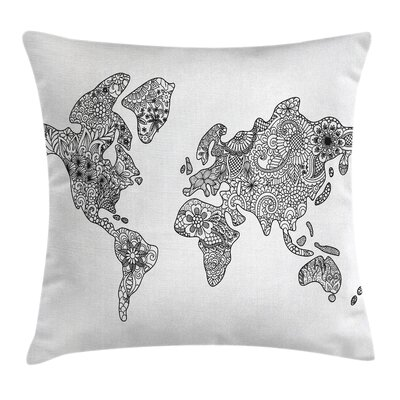 World Map Floral Pattern Earth Pillow Cover Size: 24 x 24