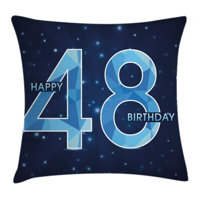 Star Night Sky Birthday Square Pillow Cover Size: 18 x 18
