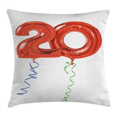 Party Flying Birthday Balloons Square Pillow Cover Size: 20 x 20