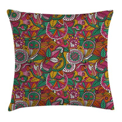 Tribal Funky Vivid Leaves Art Pillow Cover Size: 24 x 24
