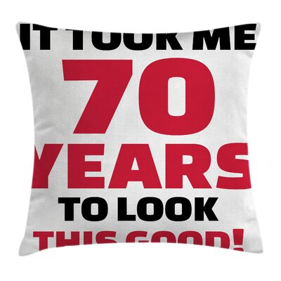 Party Motivation Quote Birthday Square Pillow Cover Size: 16 x 16
