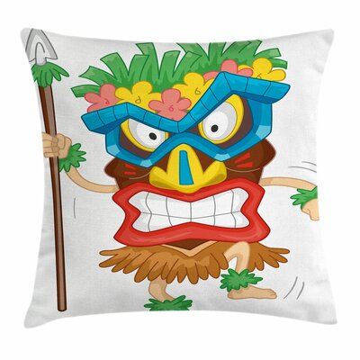 Tiki Bar Decor Native Costume Square Pillow Cover Size: 18 x 18