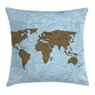 Ocean Map with Waves Artful Pillow Cover Size: 24 x 24