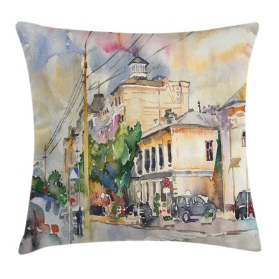 Urban City Street Watercolors Pillow Cover Size: 16 x 16