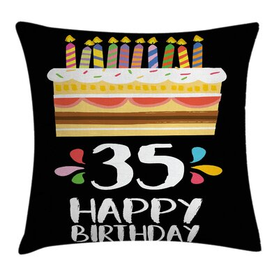 Fun Celebration Theme Art Cake Square Pillow Cover Size: 18 x 18