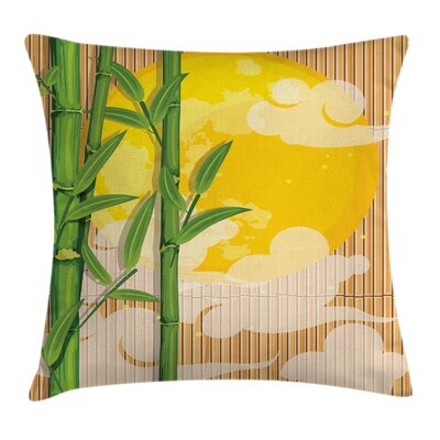 Asian Bamboo Full Moon Clouds Pillow Cover Size: 24 x 24