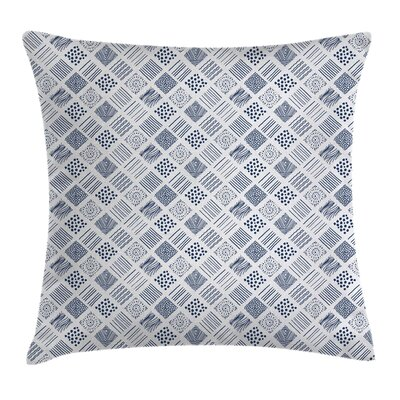 Square Shaped Lines Dots Pillow Cover Size: 18 x 18