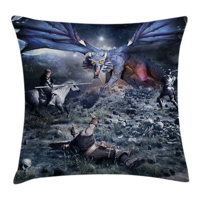 Ancient Dragon Medieval Knights Pillow Cover Size: 16 x 16