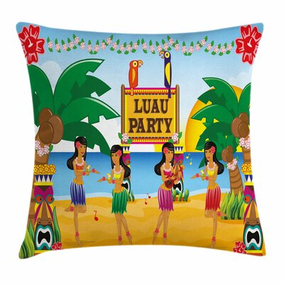 Tiki Bar Decor Luau Party Dance Square Pillow Cover Size: 18 x 18
