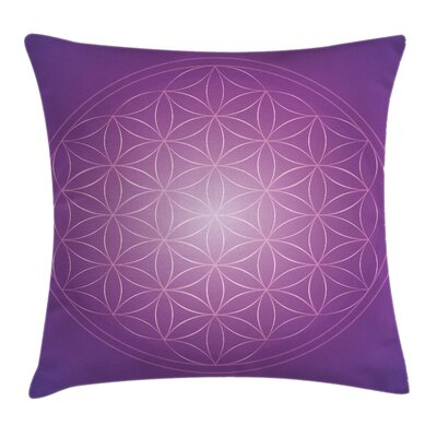 Psychedelic Flower Life Vibrant Pillow Cover Size: 24