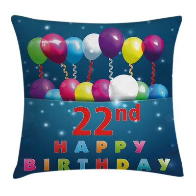 Party Birth Balloons Square Pillow Cover Size: 16 x 16