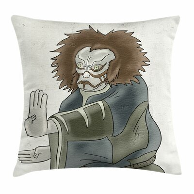Kabuki Mask Theater Character Square Pillow Cover Size: 18 x 18