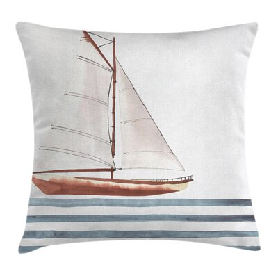 Quote Sailing Theme Boat Waves Square Pillow Cover Size: 18 x 18