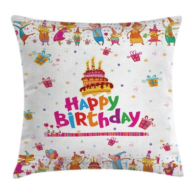 Fun Joyful Mouses Party Mood Square Pillow Cover Size: 18 x 18