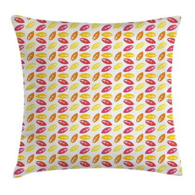 Tree Colorful Falling Leaves Square Pillow Cover Size: 18 x 18