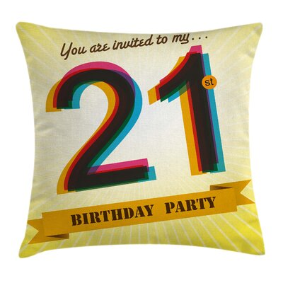 Invitation to Birthday Pillow Cover Size: 18 x 18