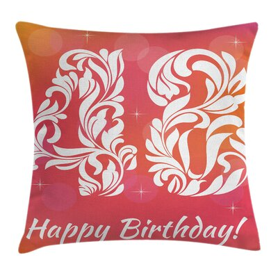 Victorian Retro Swirl Numbers Square Pillow Cover Size: 16 x 16