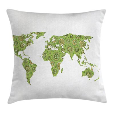 World Map Ethnic Chart Artisan Pillow Cover Size: 18 x 18