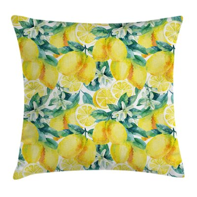Garden Lemon Citrus Branches Pillow Cover Size: 16 x 16