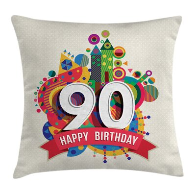 Colorful Funky Pop Birthday Square Pillow Cover Size: 20 x 20