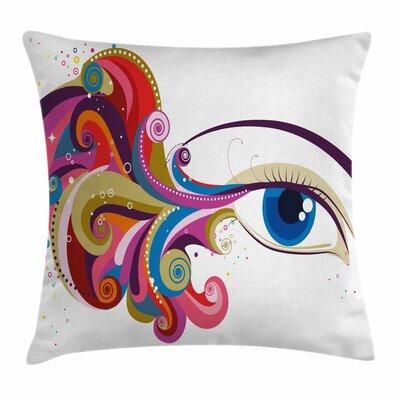 Eye Womans Eye Colorful Art Square Pillow Cover Size: 18 x 18