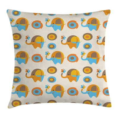 Kids Wall Elephant Butterfly Pillow Cover Size: 16 x 16