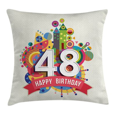 Vintage Pop Art Funk Age Day Square Pillow Cover Size: 24 x 24