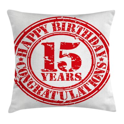 Grunge Worn Stamp Fifteen Square Pillow Cover Size: 18 x 18