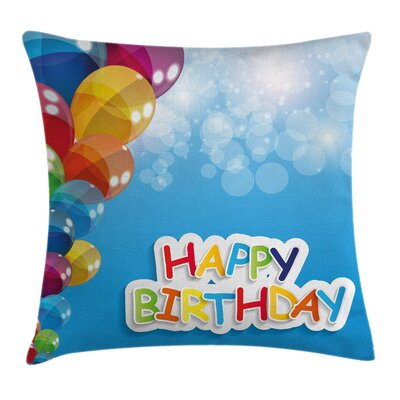 Vibrant Balloons Sky Square Pillow Cover Size: 24 x 24