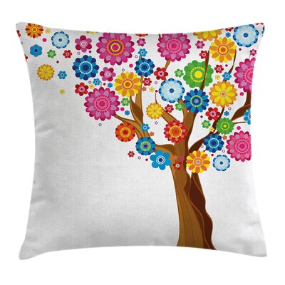 Kids Room Tree Vibrant Blooms Pillow Cover Size: 16 x 16