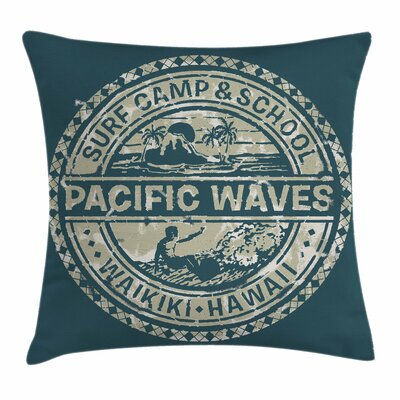 Holiday Pacific Waves Surf Camp Pillow Cover Size: 20 x 20