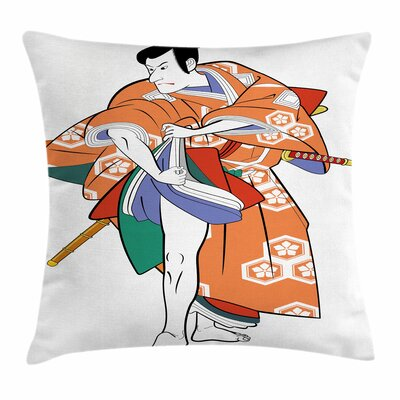 Kabuki Mask Actor in Costume Square Pillow Cover Size: 20 x 20