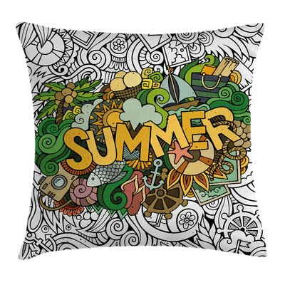 Colorful Summer Tropical Marine Pillow Cover Size: 24 x 24