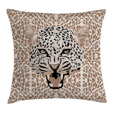 African Roaring Wild Leopard Pillow Cover Size: 24 x 24
