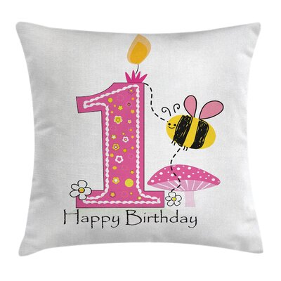 Cartoon Bees Party Cake Candle Square Pillow Cover Size: 18 x 18