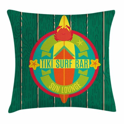 Tiki Bar Decor Surf Bar Holiday Square Pillow Cover Size: 16 x 16
