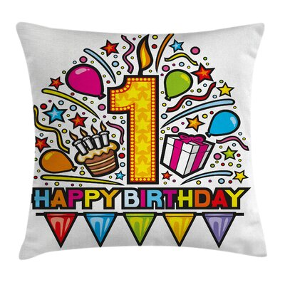 Birthday Pop Art Style Party Square Pillow Cover Size: 16 x 16