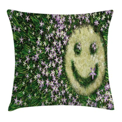 Garden Smiley Emoticon on Grass Pillow Cover Size: 18 x 18