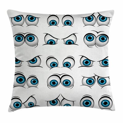 Eye Cartoon Emoticons Funny Square Pillow Cover Size: 18 x 18