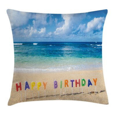 Hawaiian Happy Birthday Sign Square Pillow Cover Size: 24 x 24