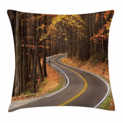 Fall Decor Roadway Mountains Square Pillow Cover Size: 16 x 16
